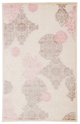 Wistful Damask Rug in Whitecap Gray & Silver Pink design by Jaipur