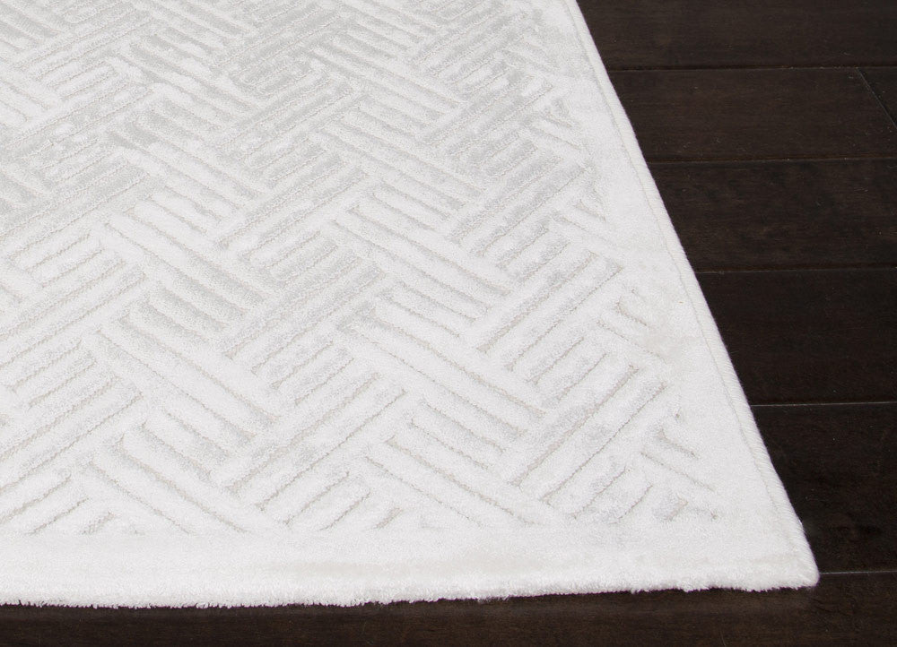 Thatch Geometric White Area Rug