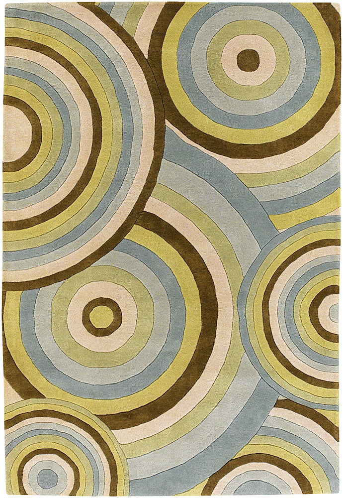 Fenja Collection Hand-Tufted Area Rug in Blue, Green, & Cream design by Chandra rugs