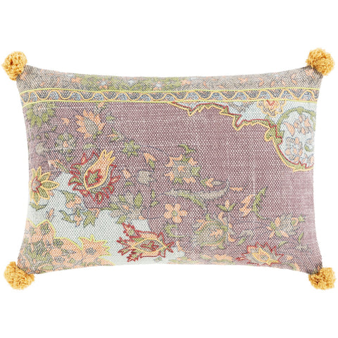Francesca FNE-002 Hand Woven Lumbar Pillow in Saffron & Lime by Surya