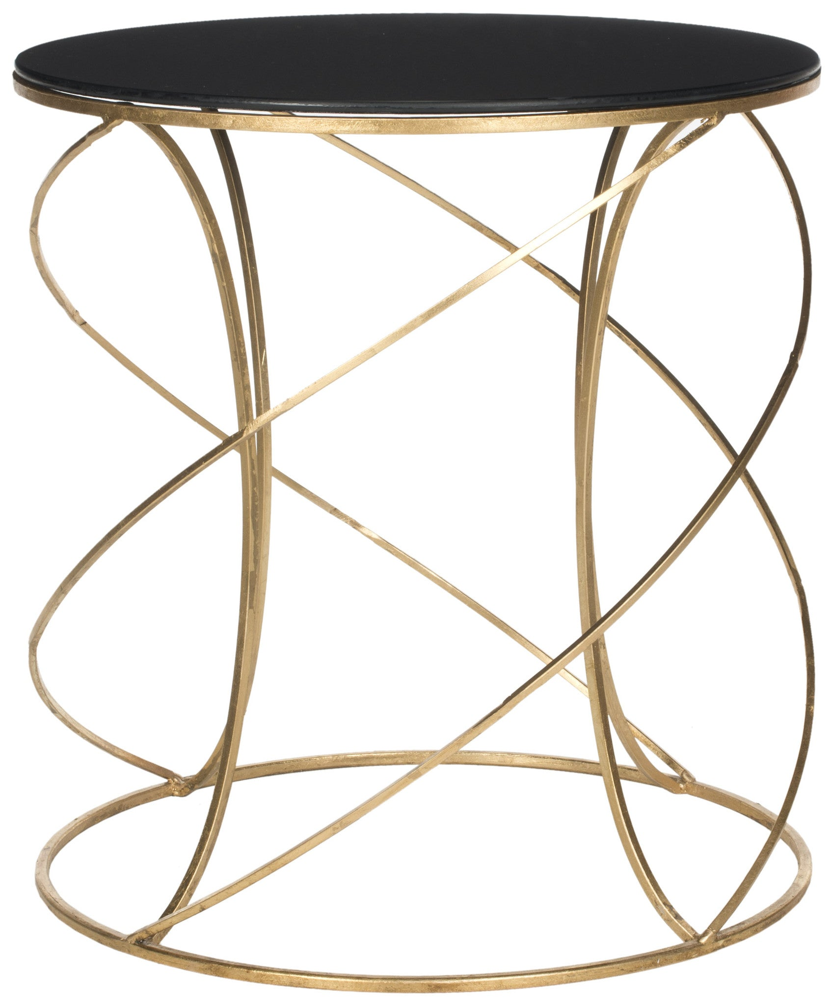 Cagney Accent Table w/ Black Glass Top design by Safavieh
