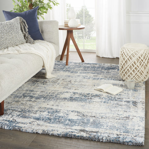 Benton Abstract Rug in Blue & Gray