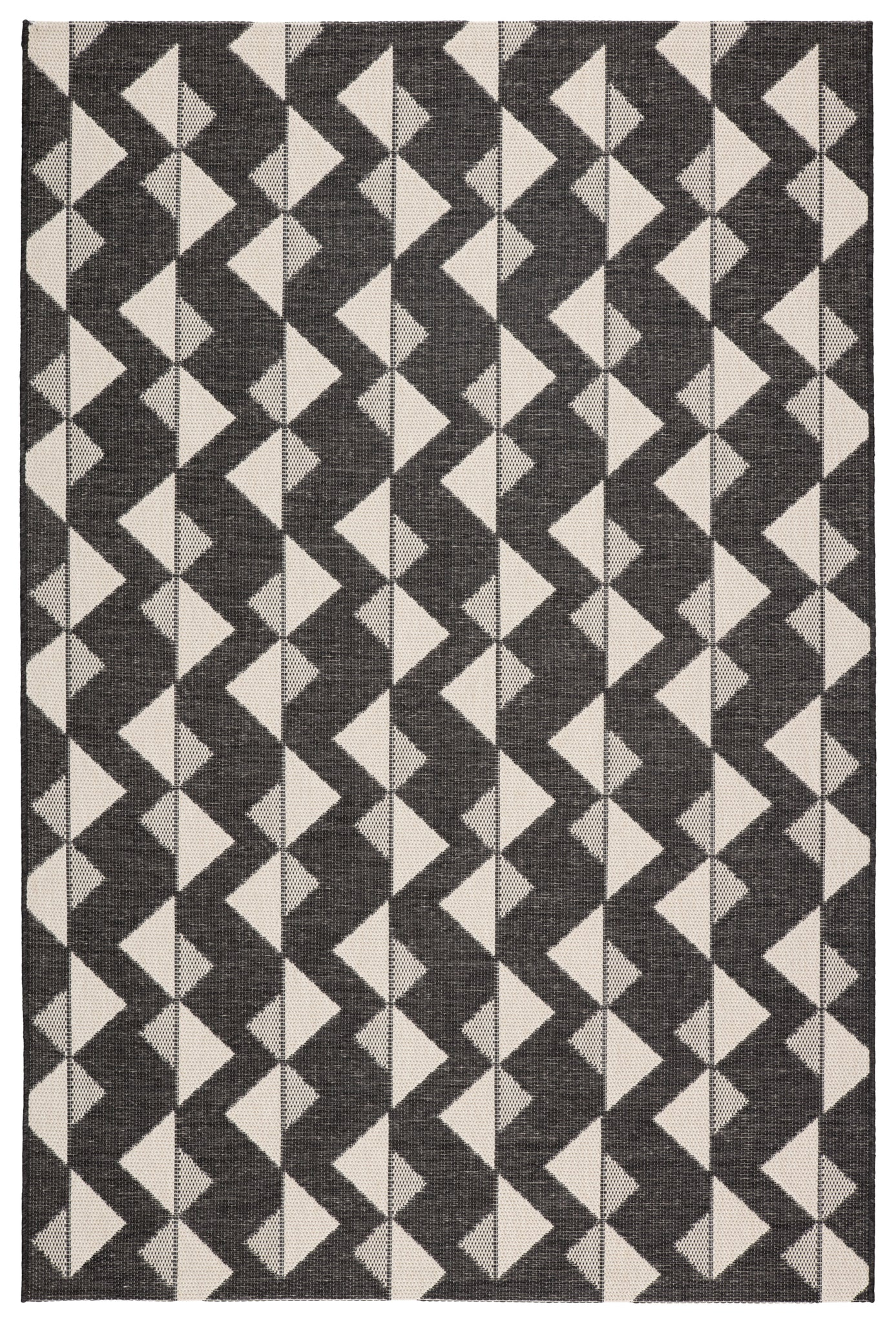 Zemira Indoor Outdoor Geometric Black Cream Rug Burke Decor