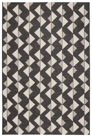 Zemira Indoor/ Outdoor Geometric Black/ Cream Rug by Jaipur Living
