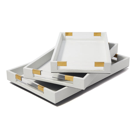 Set of 3 Stingray Rectangular White Decorative Trays with Acrylic Handle design by Tozai
