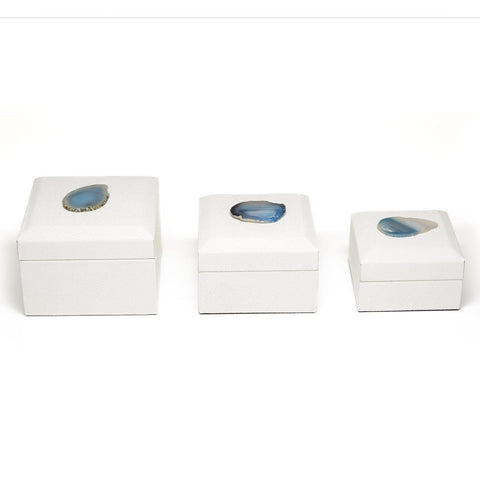 Hampton Nested Geode Accent White Stingray Boxes, Set of 3
