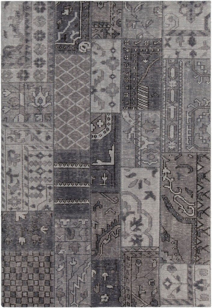 Fusion Collection Hand-Knotted Area Rug in Grey, Charcoal, & Black design by Chandra rugs