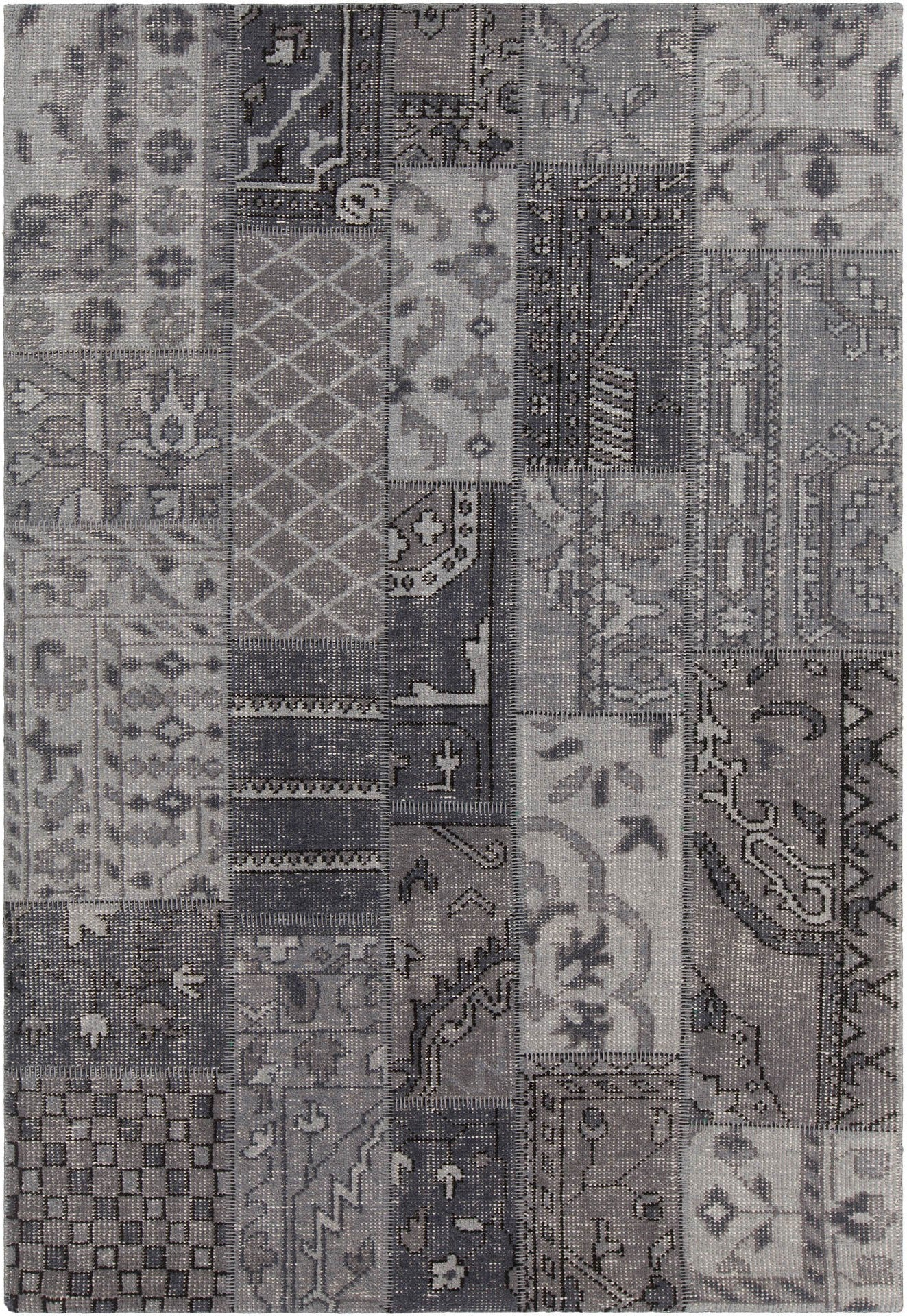 Fusion collection hand knotted area rug in grey charcoal