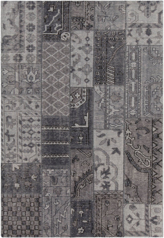 Fusion Collection Hand-Knotted Area Rug in Grey, Charcoal, & Black
