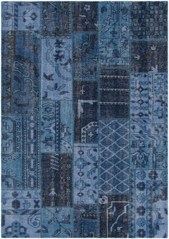 Fusion Collection Hand-Knotted Area Rug in Blue, Charcoal, & Black