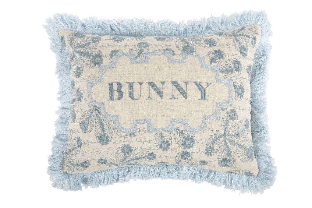 Bunny Embroidered Pillow in Nile design by Thomas Paul