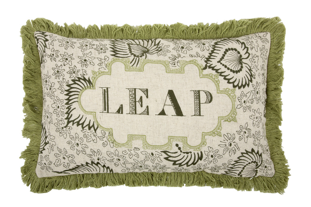 Leap Embroidered Pillow in Leaf design by Thomas Paul