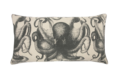 Pulpo Accent Bed Pillow in Charcoal design by Thomas Paul
