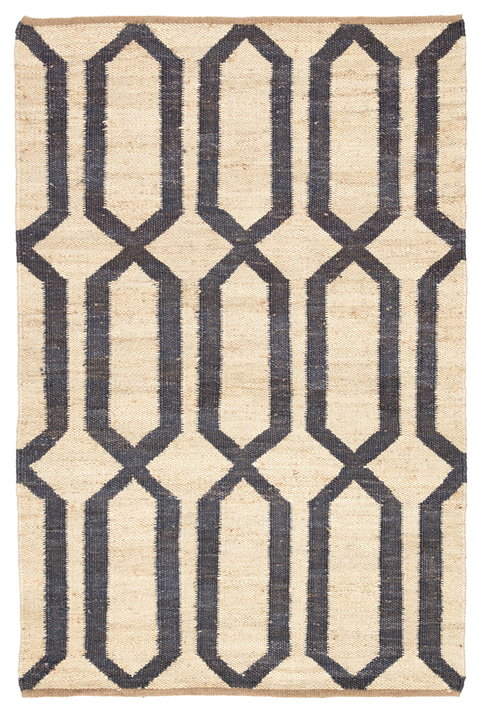 Luxor Natural Trellis Cream & Blue Area Rug