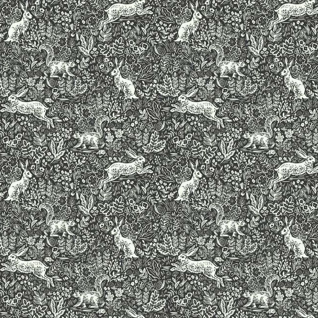 Sample Fable Wallpaper in Black and White from the Rifle Paper Co. Collection by York Wallcoverings