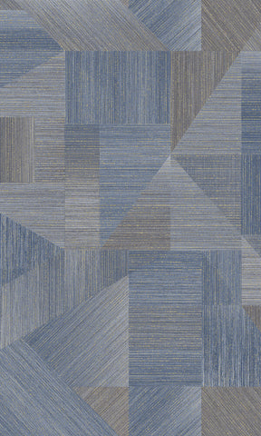 Sample Fabric Patchwork Wallpaper in Navy by Walls Republic