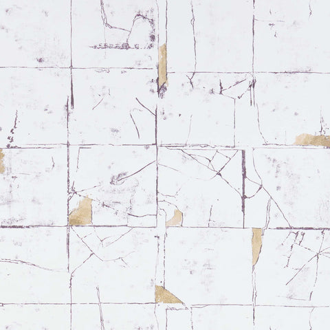 Faenza Tile Wallpaper in Stone from the Folium Collection by Osborne & Little