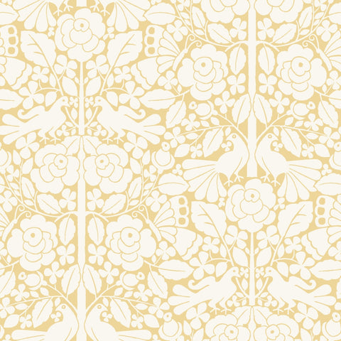 Fairy Tales Wallpaper in Yellow from the Magnolia Home Vol. 3 Collection by Joanna Gaines