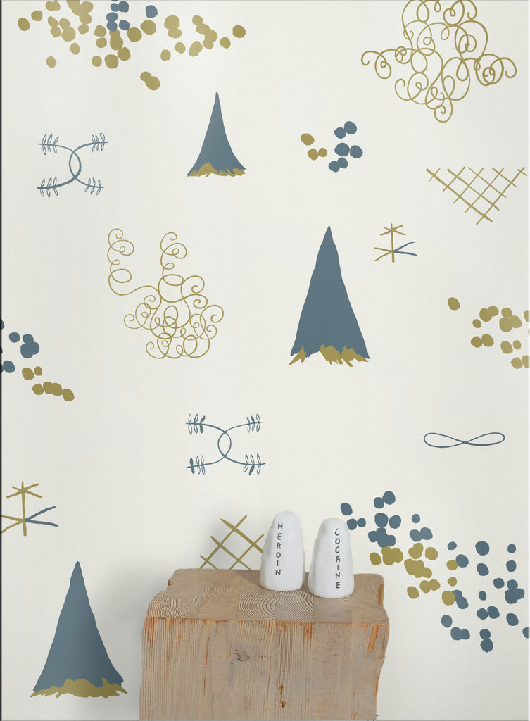 Sample Family Reunion Wallpaper in Aquatic and Gold design by Juju
