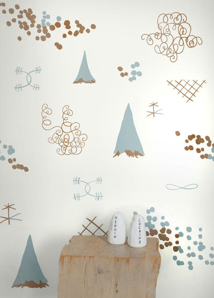 Family Reunion Wallpaper in Copper and Patina design by Juju
