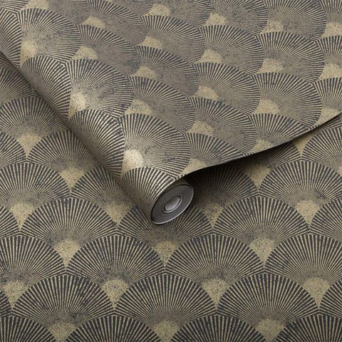 Fan Wallpaper in Black and Gold from the Exclusives Collection by Graham & Brown