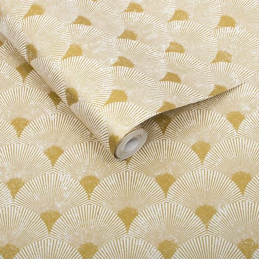 Sample Fan Wallpaper in Gold and Pearl from the Exclusives Collection by Graham & Brown