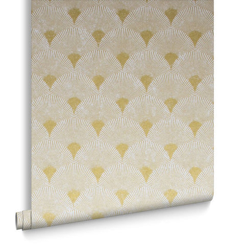 Fan Wallpaper in Gold and Pearl from the Exclusives Collection by Graham & Brown