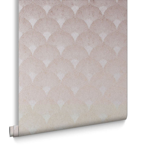 Fan Wallpaper in Rose Gold from the Exclusives Collection by Graham & Brown