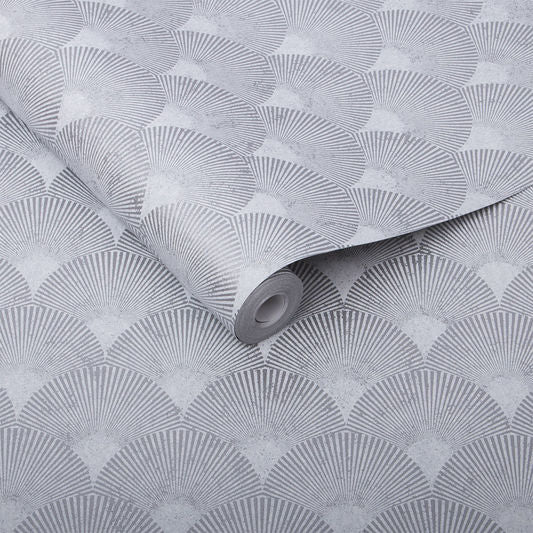 Sample Fan Wallpaper in Silver from the Exclusives Collection by Graham & Brown