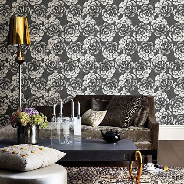 Fanciful Floral Wallpaper in Black from the Moonlight Collection by Brewster Home Fashions