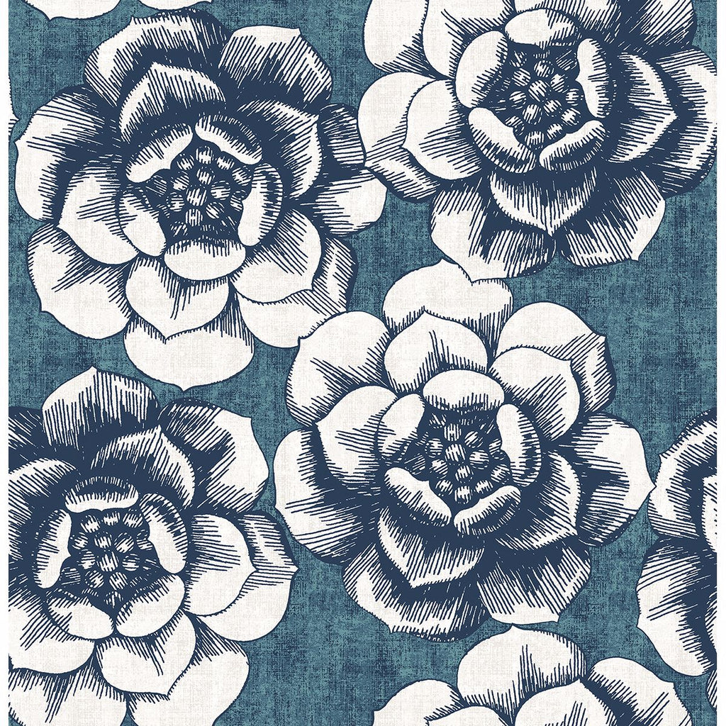 Fanciful Floral Wallpaper in Blue from the Moonlight Collection by Brewster Home Fashions