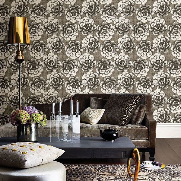 Fanciful Floral Wallpaper in Brown from the Moonlight Collection by Brewster Home Fashions