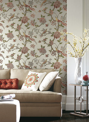 Fanciful Floral Wallpaper in Red and Blue by Ashford House for York Wallcoverings