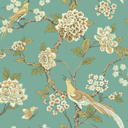 Sample Fanciful Floral Wallpaper In Aqua And Gold By Ashford House For York Wallcoverings