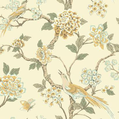 Fanciful Floral Wallpaper in Cream and Yellow by Ashford House for York Wallcoverings