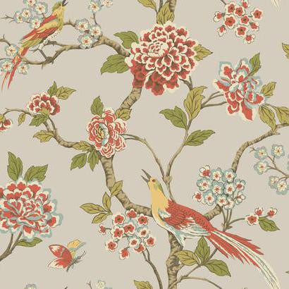 Fanciful Floral Wallpaper in Silver and Multi by Ashford House for York Wallcoverings