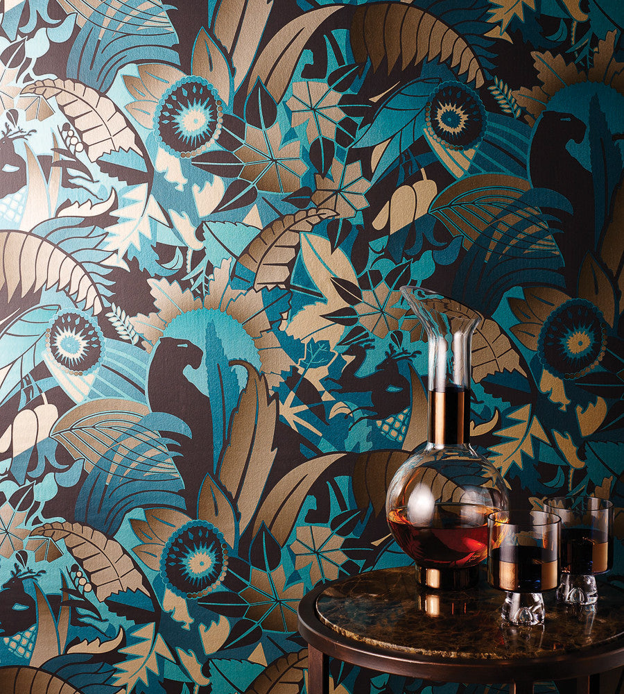 Fantasque Wallpaper in Turquoise, Teal, and Bronze by Osborne & Little