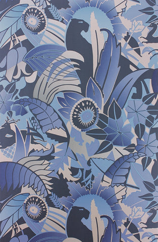 Fantasque Wallpaper in Sapphire, Navy, and Silver by Osborne & Little