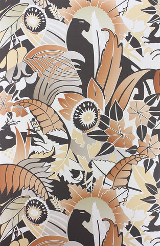 Fantasque Wallpaper in Terracotta, Taupe, and Copper by Osborne & Little