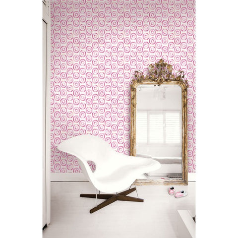 Faravel Geo Wallpaper in Pink from the Lugano Collection by Seabrook Wallcoverings