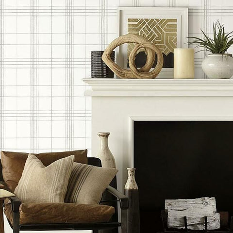 Farmhouse Plaid Wallpaper in Linen from the Simply Farmhouse Collection by York Wallcoverings