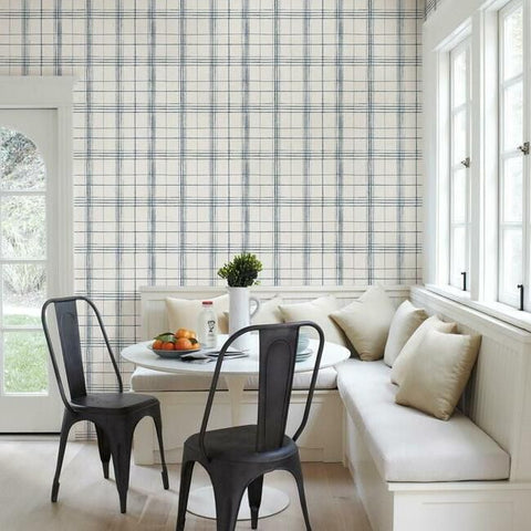 Farmhouse Plaid Wallpaper in Navy and White from the Simply Farmhouse Collection by York Wallcoverings