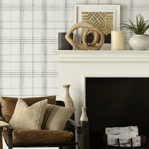 Farmhouse Plaid Wallpaper in Taupe and Charcoal from the Simply Farmhouse Collection by York Wallcoverings