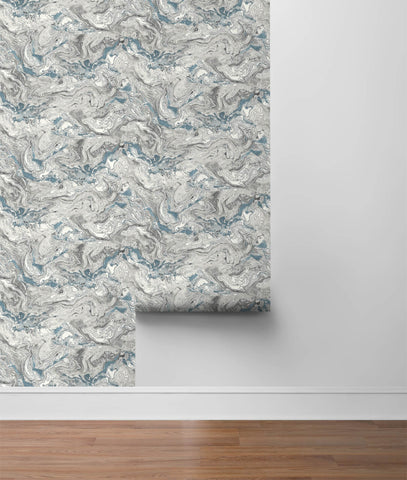 Faux Marble Peel-and-Stick Wallpaper in Lunar Rock and Cerulean from the Luxe Haven Collection by Lillian August