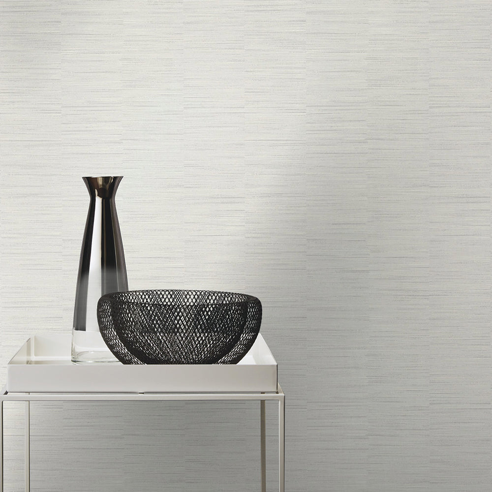 Faux Metallic Grasscloth  Wallpaper in Light Grey by Walls Republic