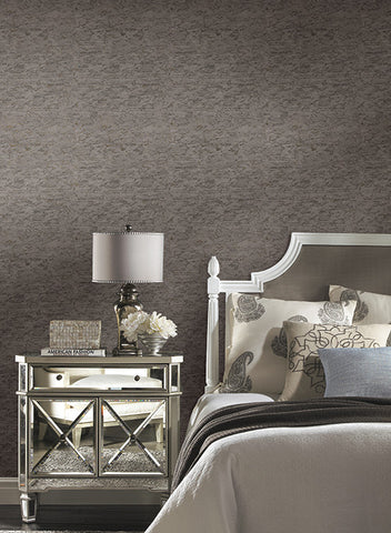 Faux Cork Wallpaper in Charcoal and Metallic by York Wallcoverings