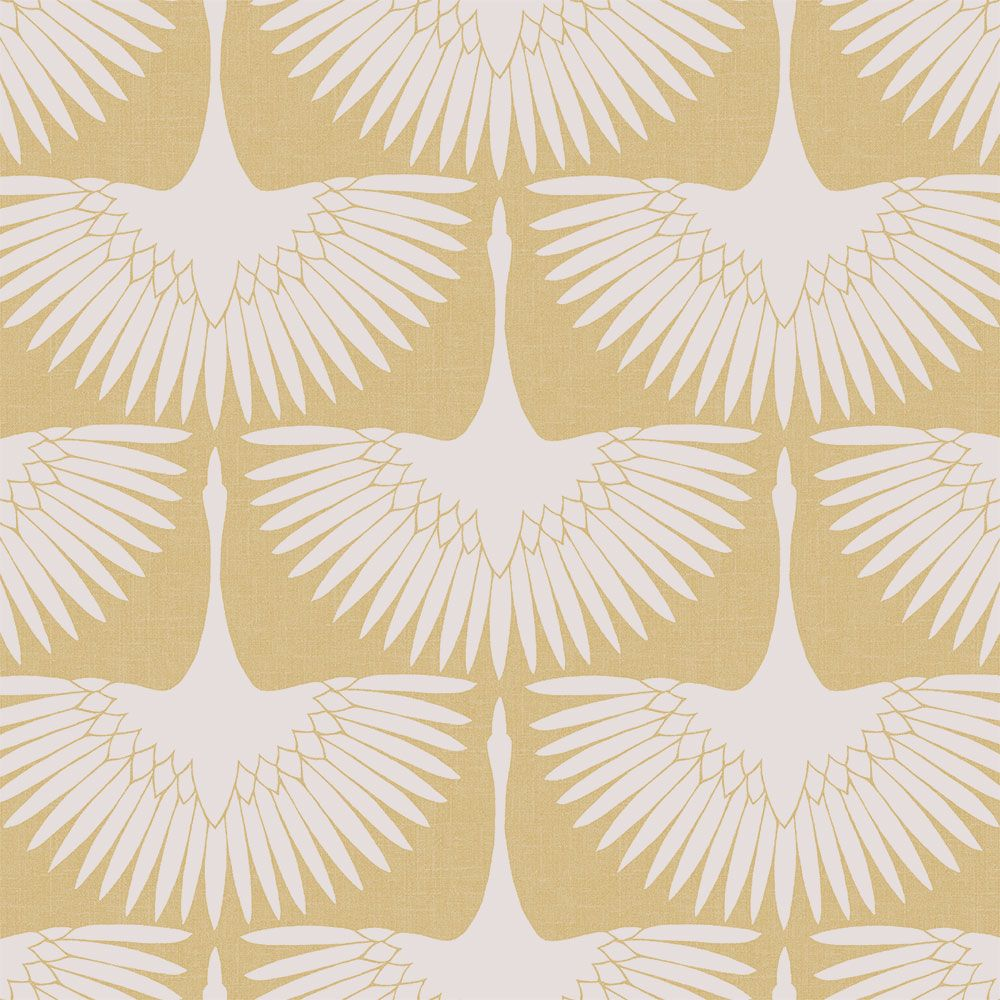 Sample Feather Flock Self-Adhesive Wallpaper (Single Roll) in Golden Hour by Tempaper