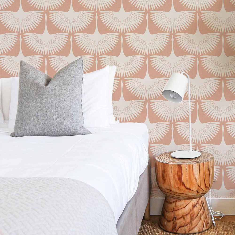 Feather Flock Self-Adhesive Wallpaper (Single Roll) in Sahara Blush by Tempaper