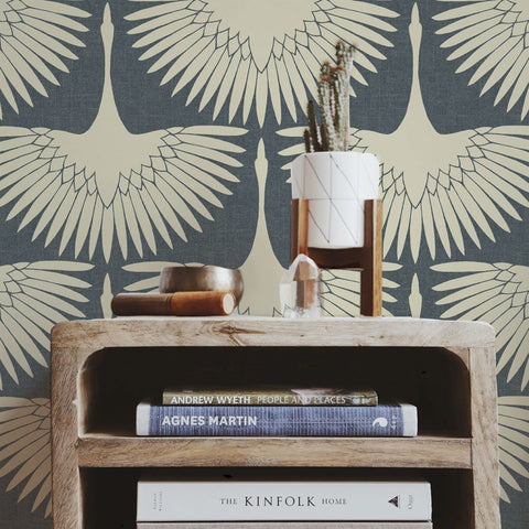 Feather Flock Self-Adhesive Wallpaper in Denim Blue by Tempaper