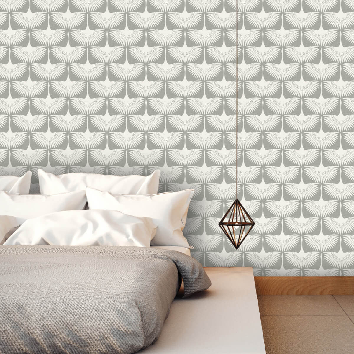 Feather Flock Self Adhesive Wallpaper In Chalk By
